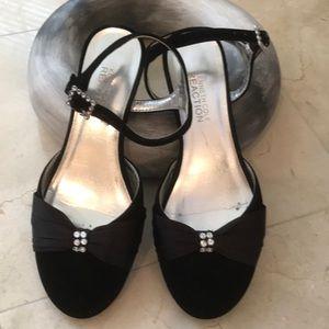 Black velvet and satin sandals